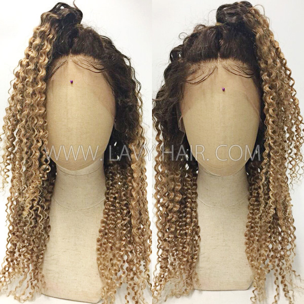 Color 4/27 Lace Frontal Wigs 130% Density Deep Curly Human Hair
