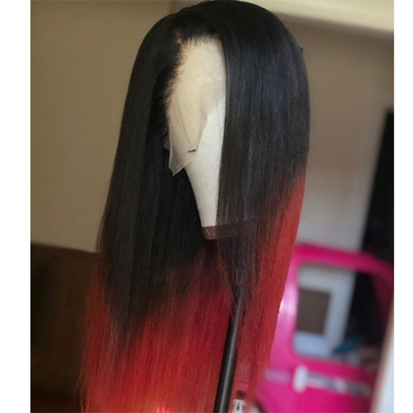 1B/Red Color Silky Straight Hair Wig Customize in 7 Working Days 130lfw