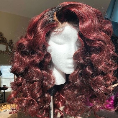 Ombre Tomato Red Color Wavy Hair Wig With 7 Workdays Customization 180lfw-15