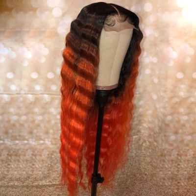 Custom Wavy Hair Wig Deep Orange Ombre Color With 7 Business Days 13*6-130lfw-11
