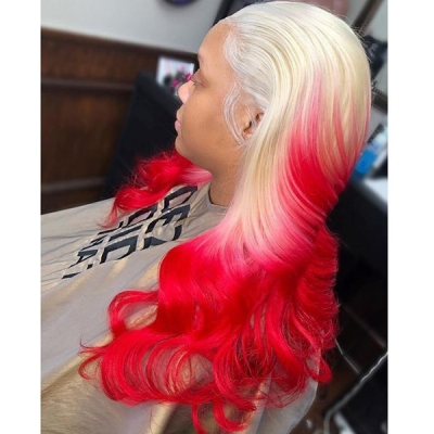 Wavy Hair Wig Blonde and Strawberry Red Ombre Color 7 Days Waiting 613lfw-27