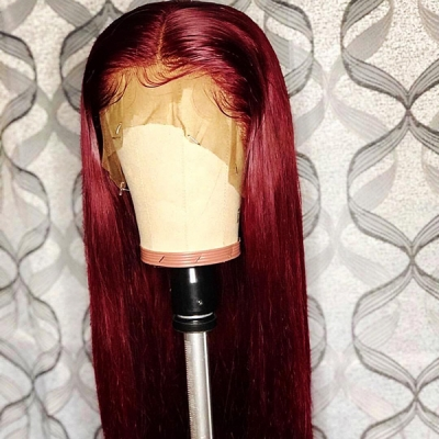 Straight Hair Wig Fashion Wine Red Color 7 Workdays Making 180lfw-16