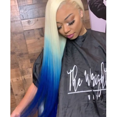 613 Blonde and Gentian Blue Ombre Color Straight Hair Wig in 7 days Customization 613lfw-25