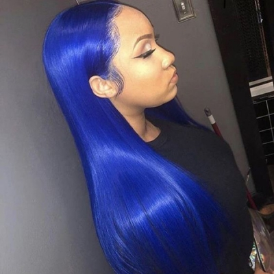 7 Workdays Ready Gentian Blue Color Straight Human Hair Wig 613lfw-34