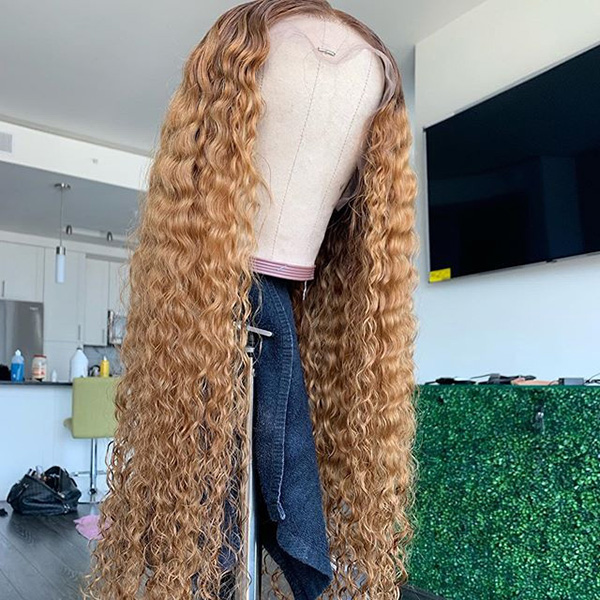 Curly Hair Light Brown Color Wig 7 Days Customizing Only 613lfw-33