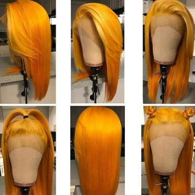 Melon Yellow Color Straight Hair Lace Wig Customize Only 7 Days 613lfw-45