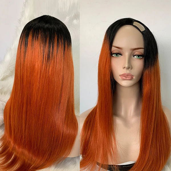 1B/Orange Color Straight Hair U Part Wig With 7 Days Customize upw-71