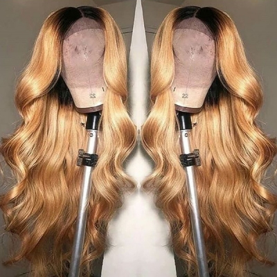 Honey Yellow Ombre Color Wavy Human Hair Wig 7 Days Making CW-58