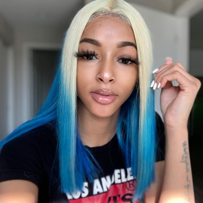 Blonde And Sky Blue Ombre Color Straight Hair Wig 7 Days Ready 613lfw-54