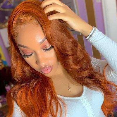 Honey Brown Color Wavy Hair Lace Wig 7 Days Customize 613lfw-70A15