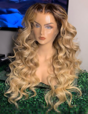 Wavy Human Hair Lace Wig Ombre Sandcastle Color 7 Days Making 13*6-130lfw-75A3