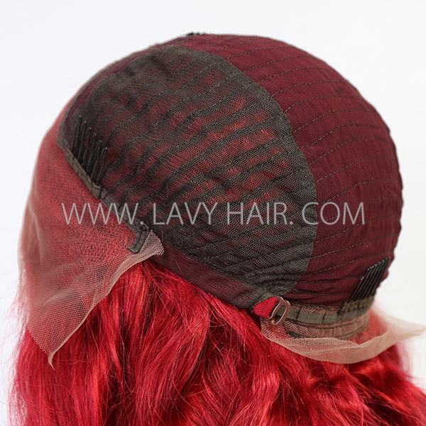 Red Color Wavy Hair Preplucked Wig Only 7 Working Days Making 13*6-130lfw-07A11