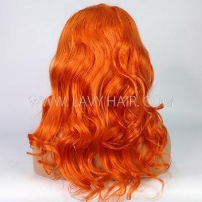 Pastel Orange Color Wavy Lace Wig For 7 Working Days Making 613lfw-35A17
