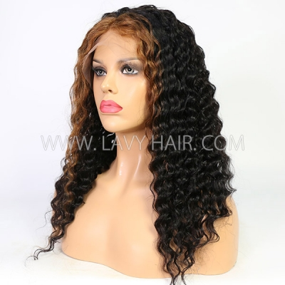 Custom 7 Days Cute Girls Wavy Style Highlight Brown Lace Wig 13*6-130lfw-13A12