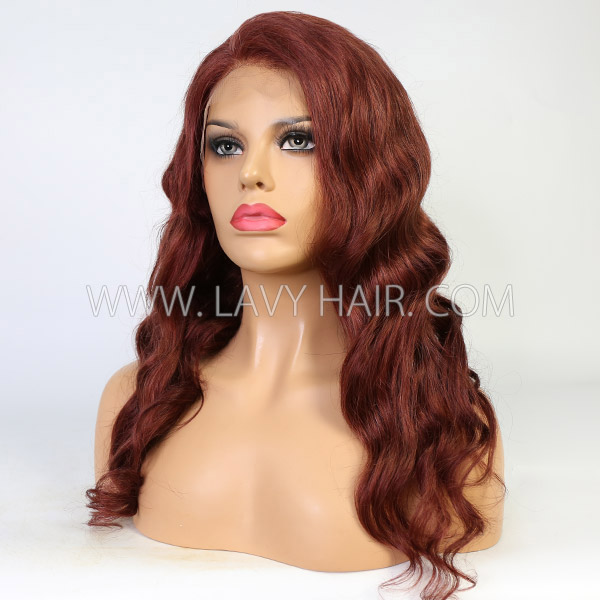 Bouncy Wave Style Brown Color Human Hair Wig Customize With 7 Working Days 130lfw-04A9