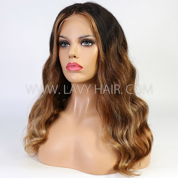 Ombre Colorful Virgin Hair Wig With 7 Working Days Customize 13*6-130lfw-06A10