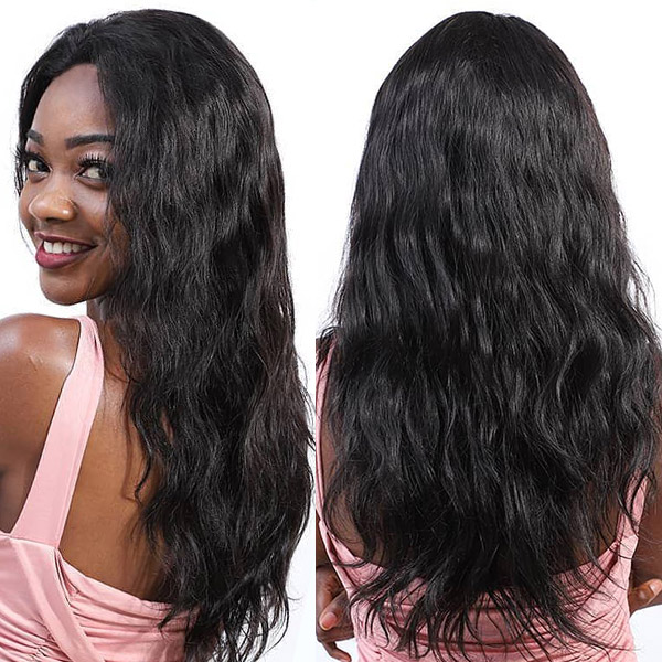 100% Natural Wave Human Hair Pre Plucked Wigs With Elastic Band HMW-BW