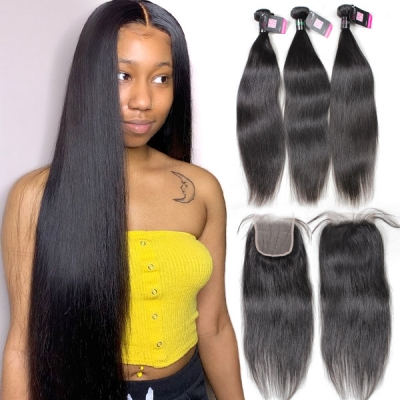 Superior Grade 3/4 bundles with lace closure Straight Virgin Human hair Brazilian Peruvian Malaysian Indian European Cambodian Burmese Mongolian