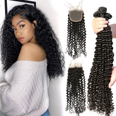 Superior Grade 3/4 bundles with lace closure Deep Curly Virgin Human hair Brazilian Peruvian Malaysian Indian European Cambodian Burmese Mongolian