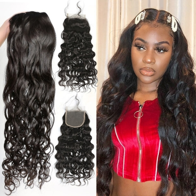 Superior Grade mix 3 bundles with lace closure Burmese natural wave Virgin Human hair extensions