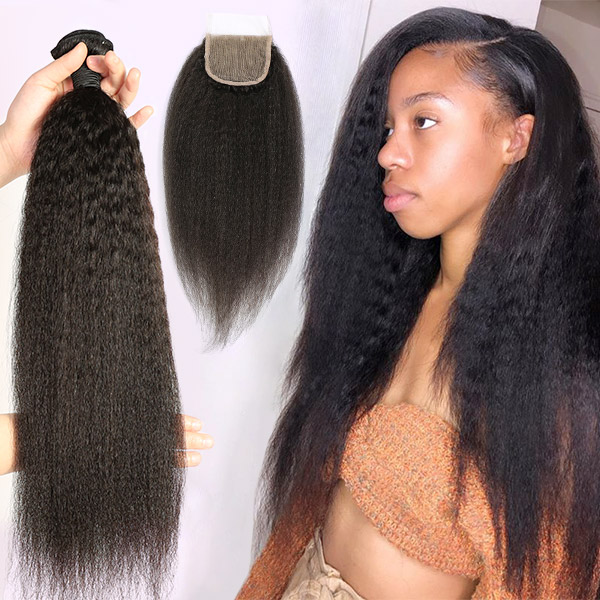 Superior Grade 3/4 bundles with lace closure Kinky Straight Virgin Human hair Brazilian Peruvian Malaysian Indian European Cambodian Burmese Mongolian