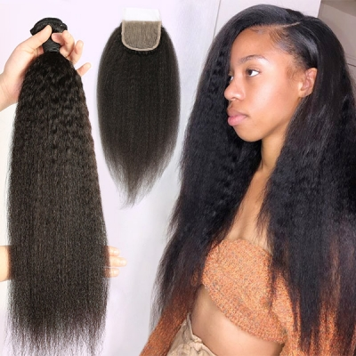 Superior Grade 3/4 bundles with 4*4 lace closure Kinky Straight Virgin hair Brazilian Peruvian Malaysian Indian European Cambodian Burmese Mongolian
