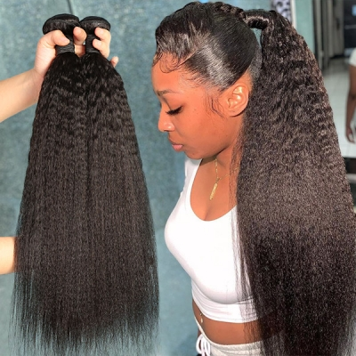 Superior Grade mix 3 or 4 bundles Brazilian Kinky Straight Virgin Human hair extensions
