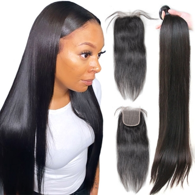 Superior Grade mix 3 bundles with lace closure Peruvian Straight Virgin Human Hair Extensions
