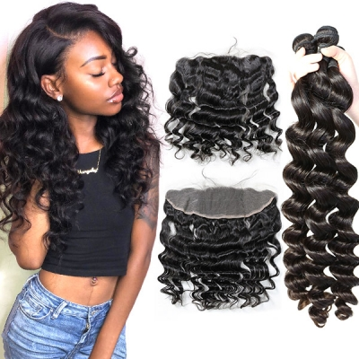 Superior Grade mix 3 bundles with 13*4 lace frontal closoure Peruvian loose wave Virgin Human hair extensions