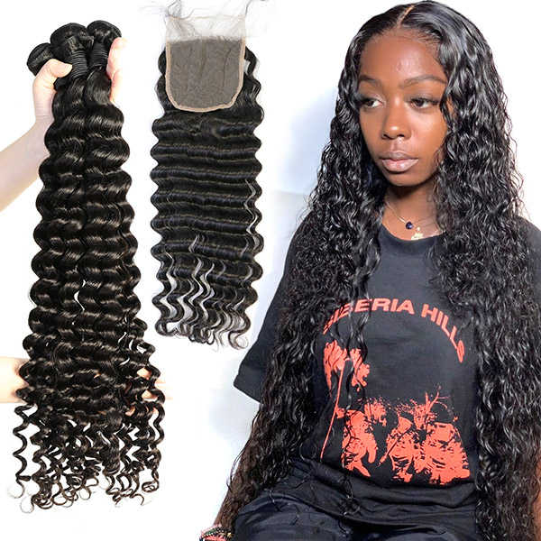 Superior Grade 3/4 bundles with 4*4 lace closure Deep wave Virgin Human hair Brazilian Peruvian Malaysian Indian European Cambodian Burmese Mongolian