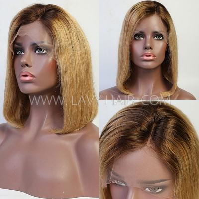 T4/27 Ombre Color Lace Frontal Bob Wig Straight Hair Human Hair 150% Density