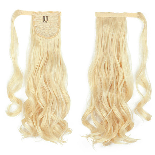 613 Blonde Color Wrap Around Drawstring Ponytail Clip-in Human Virgin Hair Extension