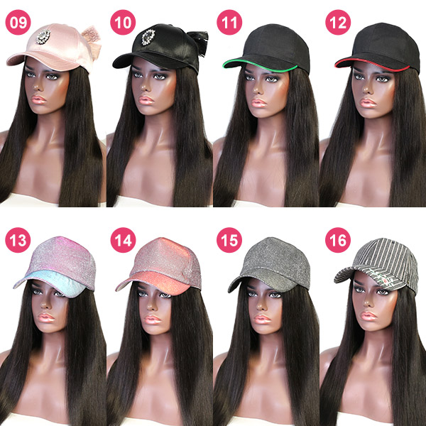 Adjustable Size Baseball Hat With Human Virgin Hair Of Different Hair Style Choice