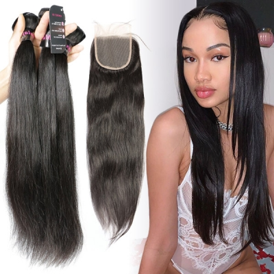 Superior Grade 3/4 bundles with 4*4 lace closure Straight Virgin Human hair Brazilian Peruvian Malaysian Indian European Cambodian Burmese Mongolian