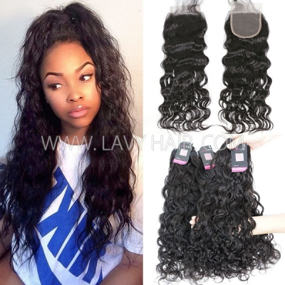 Superior Grade 3/4 bundles with lace closure natural wave Virgin Human hair Brazilian Peruvian Malaysian Indian European Cambodian Burmese Mongolian
