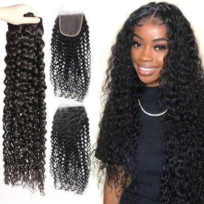 Superior Grade 3/4 Bundles With Lace Closure Italian Curly Human Hair Brazilian Peruvian Malaysian Indian European Cambodian Burmese Mongolian
