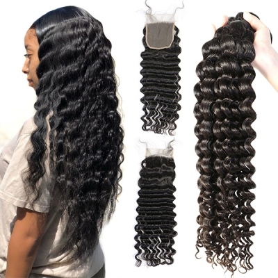Superior Grade 3/4 bundles with lace closure Deep wave Virgin Human hair Brazilian Peruvian Malaysian Indian European Cambodian Burmese Mongolian