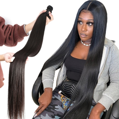 Superior Grade 1 bundle Straight Virgin Human hair extensions Brazilian Peruvian Malaysian Indian European Cambodian Burmese Mongolian