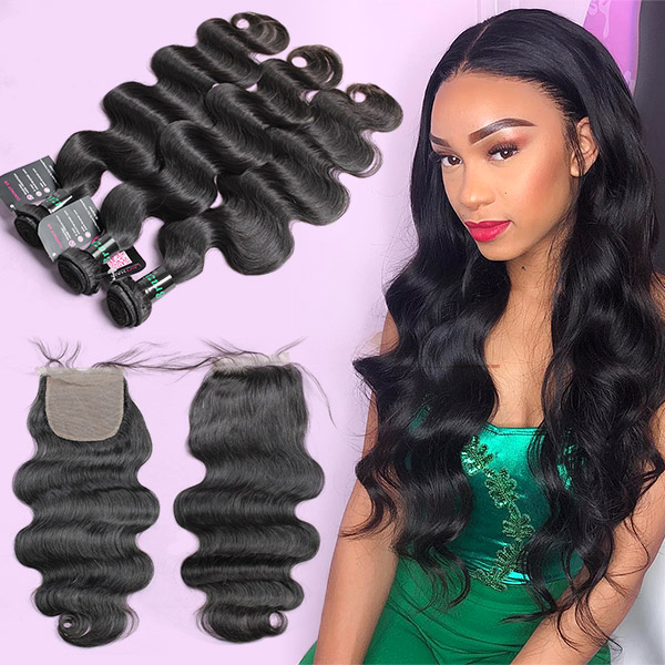 "Superior Grade 3 bundles with silk base closure 4*4"" Body wave Virgin hair Brazilian Peruvian Malaysian Indian European Cambodian Burmese Mongolian"