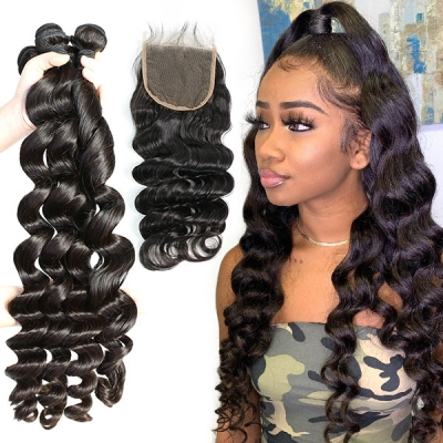 Superior Grade 3/4 bundles with lace closure  loose wave Virgin Human hair Brazilian Peruvian Malaysian Indian European Cambodian Burmese Mongolian