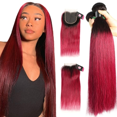 #1B/99J Superior Grade 3 bundles with lace closure Straight&Body Wave Hair Brazilian Peruvian Malaysian Indian European Cambodian Burmese Mongolian