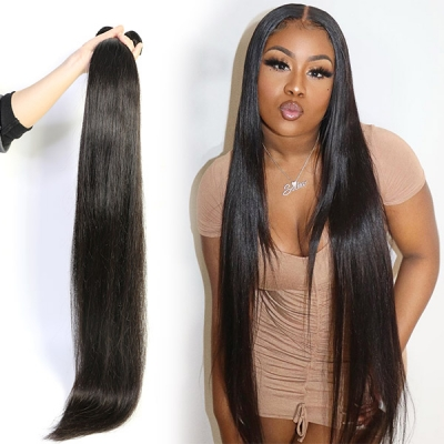 Double Drawn Superior Grade 1 bundle Straight Virgin Human hair extensions Brazilian Peruvian Malaysian Indian European Cambodian Burmese Mongolian