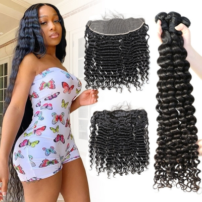 Superior Grade mix 3 bundles with 13*4 lace frontal Deep Wave Virgin Hair Brazilian Peruvian Malaysian Indian European Cambodian Burmese Mongolian