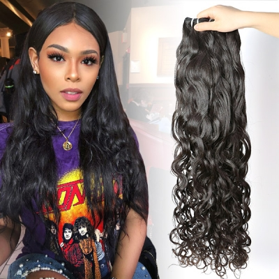 Superior Grade 3/4 bundles natural wave Virgin Human hair extensions  Brazilian Peruvian Malaysian Indian European Cambodian Burmese Mongolian