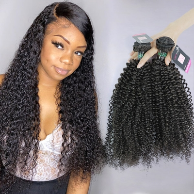 Superior Grade 3/4 bundles Kinky Curly Virgin Human hair extensions Brazilian Peruvian Malaysian Indian European Cambodian Burmese Mongolian