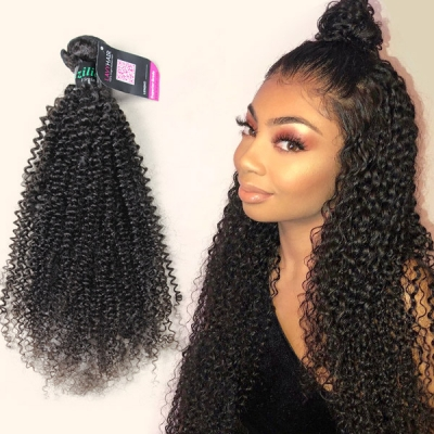 Superior Grade 1 bundle Kinky Curly Virgin Human hair extensions Brazilian Peruvian Malaysian Indian European Cambodian Burmese Mongolian