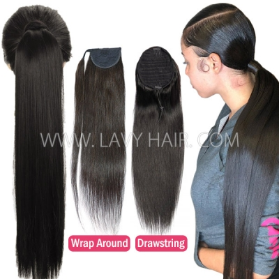 Vigorous Drawstring Ponytail and Wrap Around Ponytail Clip-in Straight Hair Human Virgin Hair Extension