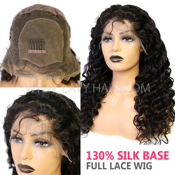 130% Density Silk Base Top Closure Full Lace Wigs Loose Wave Human Hair