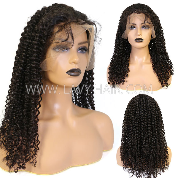 360 Lace Frontal Wigs 180% Density Deep Curly Human Hair
