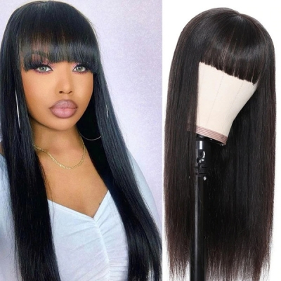 Human Virgin Hair Wig With Bangs 130% & 300% Density Full Machine Made Wig No Lace
